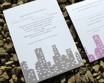 Minneapolis Wedding Invitation Set - Skyline - Wedding Invitation Set - Custom