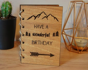 Wooden Card Birthday Card Personalised Wooden Engraved Card Rustic Woodland Hipster Mountains Arrow Card