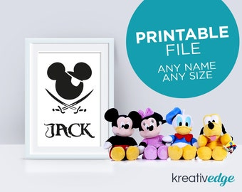 PIRATE MICKEY MOUSE Wall Decor Art - Digital Downloadable Print, Personalised with your childs name! Pirate Mickey Mouse Print for Boys