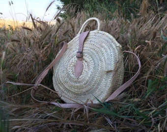 Round wicker basket Double leather handle,bali,round, rattan bag ,Round straw bag,Circle Shoulder bag,Leather Handles ,Basket Bag
