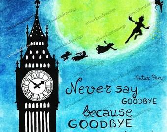 Illustration Peter Pan, pastel illustration, cake artwork
