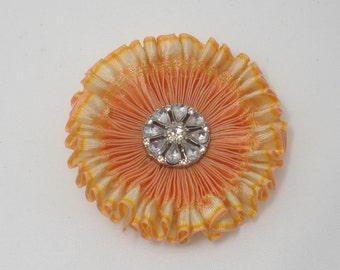 Peach Pastel Pleated Cocarde Applique