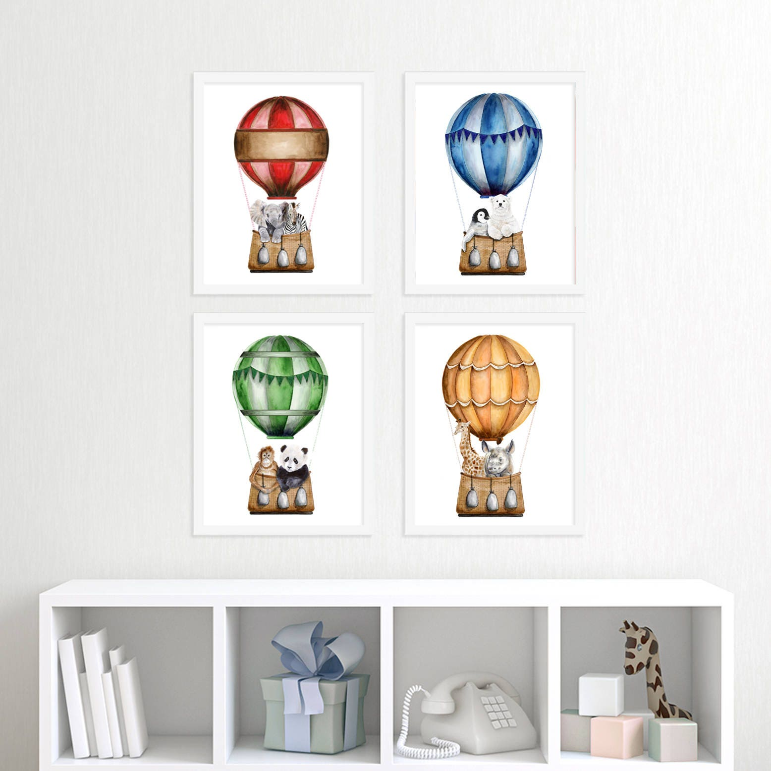 Baby Animals in Hot Air Balloons Nursery Print Set Hot Air