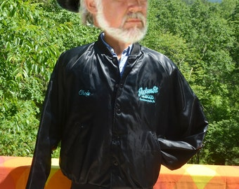 vintage 80s windbreaker JACKSON STREET shiny satin baseball jacket black Large indianapolis