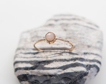 Peach Moonstone Ring | 14K Gold Filled | Stacking Ring | Birthstone | Minimalist Ring | Gift For Her