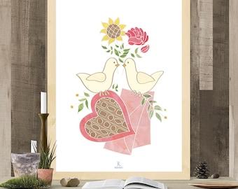 Printable Art, Digital Download, Room Decor, Wall Art, Print, Wall Decor, Gift, Romantic, Illustration, Doves, Valentine, Love, Flowers