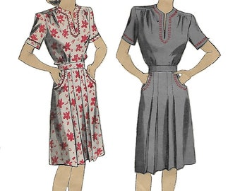 DuBarry 6028 Women's 1940s Pleated Dress with Decorated Neckline Unprinted Sewing Pattern Size 16 Bust 34