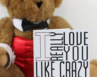 Love You Like Crazy Card Typography Valentine Red Black White