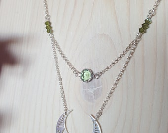Necklace 925 Silver and green Crystal beads