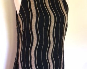 Vintage maxi dress 90s by Milano taupe black striped dress with side splits size large