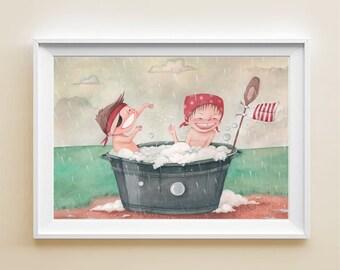 Art Print - Poster illustration with children playing in the rain, kids illustration, wall art, gift for children