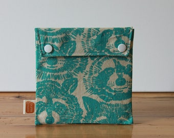 Reusable sandwich bag, reusable snack bag, fabric bag with Racoon print [#151], eco friendly, no waste lunch box, washable