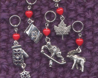 Canadian Knitting Stitch Markers No-snag Canada Flag Canuck  Set of 5/SM141