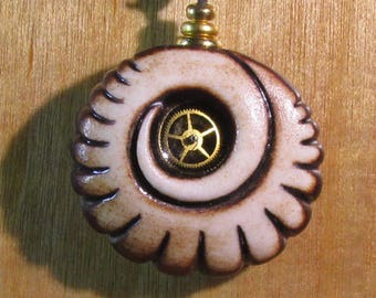 Carved Spiral with Watch Gear. Necklace.  One of a Kind