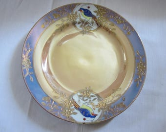 Gold Decorated Painted Bird Plate