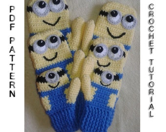 Crochet Mitten PATTERN Inspired By Minions / Funny Crochet Gloves Pattern / PDF / Crochet Tutorial / DIY / Minion Gloves / Instant Download