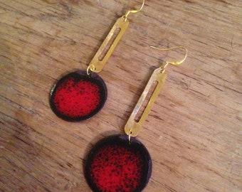 Red enameled copper earrings
