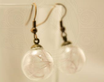 Glass globe and feather earrings gray ostrich