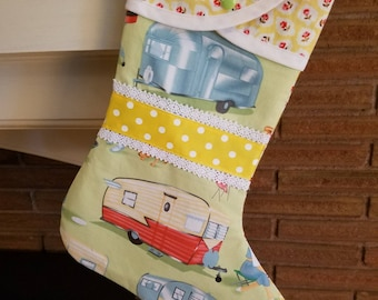 Christmas Stocking with Vintage Trailers Print