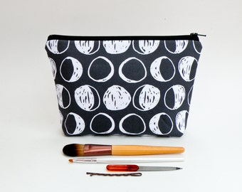 Phases of the Moon Makeup Bag - Black and White Full Moon Zipper Pouch - Lunar Eclipse Cosmetic Bag - Large Pencil Case