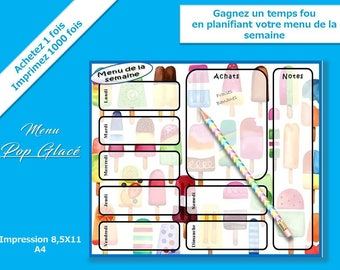 planner menu  for each days of the week, cool pop menu planner, take more time each days,