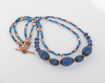 Navy blue glass and copper 2-strand necklace
