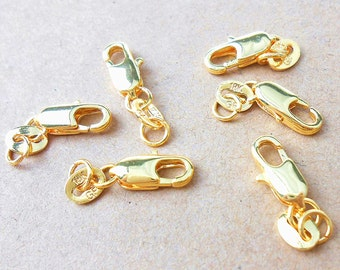 5 Pcs 18ct Gold Lobster Clasps 18 x 4 mm With 18K Jump Ring | Gold Filled Clasps | Parrot Clasps | 18 Carat Gold | Lobster Clasos | 0258