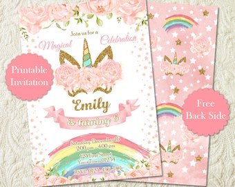 Rainbow Unicorn Girl Birthday Party Invitation, Pink And Gold Glitter Magical Floral Unicorn Birthday Party Invite, Unicorn Face Invitation
