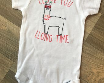 Love You Long Time Llama Valentines Onesie/shirt