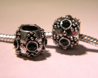 2 European bead, metal and green rhinestones - drum - bead European-11 mm x 9 mm D53