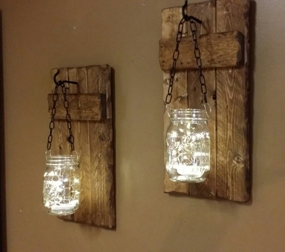 Rustic candle holders hanging mason jars set of sconces for Hanging lights made from mason jars