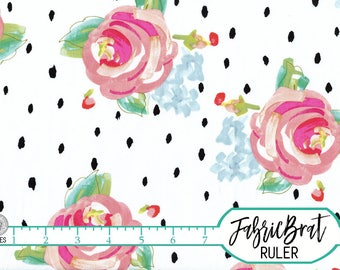 WATERCOLOR FLORAL Fabric by the Yard, Fat Quarter Black & White Spots Roses Fabric Quilting Fabric 100% Cotton Fabric Apparel Fabric a1-3