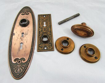 Antique Copper knob set & Copper Flashed Door back plates
