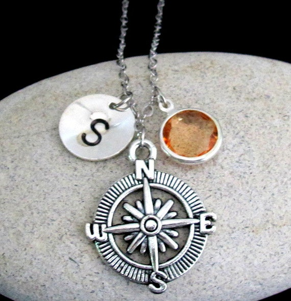 Compass Necklace,Compass Jewelry,Best friend gift-Personalized Initial,Friend Necklace,Best Friend Necklace, Friend Gift Free Shippin USA