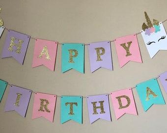Custom Unicorn Birthday Banner| Unicorn Party| Birthday Banner| Teal, Pink, Purple Banner| Fairy Party| Princess Party| 1st Birthday