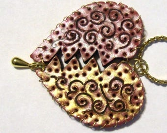 Broken Heart Wire Mended Pendant Large Two Sided Hand Sculpted Threaded Wire One of a Kind Jewelry Art
