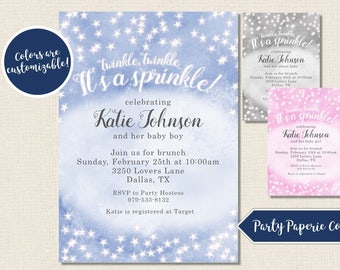 Twinkle Twinkle It's a Sprinkle, Baby Sprinkle Invitation, Baby Shower Invitation