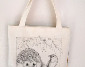 Original pen ink drawing on SMALL fabric tote bag, gift bag, teacher gift bag, hedgehog, Monica Minto