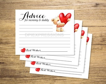 Baby Shower Advice Cards, Printable Teddy Bear And Heart Advice for the Parents, Gender Neutral Advice Cards, INSTANT DOWNLOAD