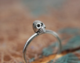 Dainty little skull stacking ring. Sterling silver skull ring. Sterling silver skull stacking ring.