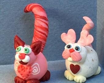 Calendar Cats, February -  Pink Swirl Cat or Heart Earred Cat