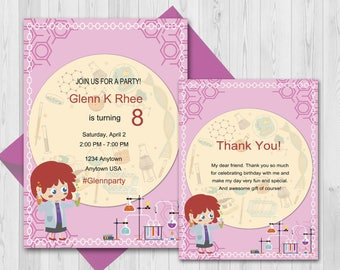 Custom science Birthday party Invitation, Thank you Cards, Chemistry, Little Scientist Invitation Printable, Lab party invite ;2400066