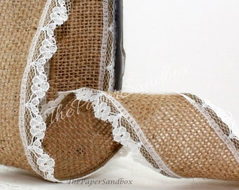 Natural Burlap Ribbon with Lace Trim, 10 yards, Wired Burlap, Burlap with Lace, Wedding, Rustic Wedding, Gift Wrapping, Wreath