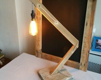 Hanging bulb upcycled angle lamp