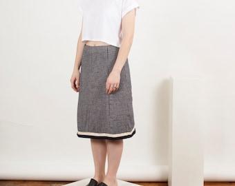 Warm Wool Skirt / Houndstooth Fall Skirt / High Waisted Midi Skirt