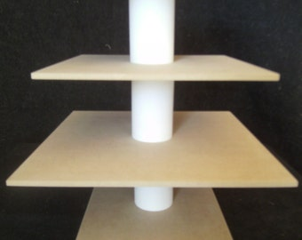 3 Tier Square Unfinished Custom Made Cupcake Stand. Can hold up to 42 cupcakes.