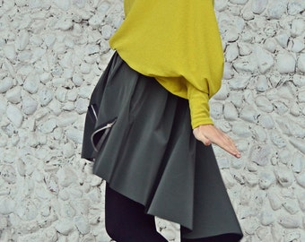 Forest Green Skirt / Extravagant Long Tail Skirt / Forest Green Taffeta Skirt / Asymmetrical Green Skirt TS15 JAZZ UP!