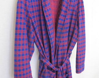 Mad Men Plaid Robe 1960's Robe Grandpa Robe Plush