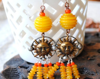 Sun Earrings, Yellow Earrings, Soldered Brass Earrings, Lampwork Bead Earrings, Celestial Earrings, Rays of Sunshine Earrings, Boho Chic