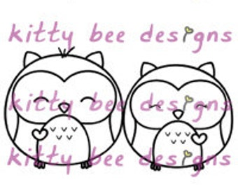 Kawaii Owl Buddies Digi Stamp